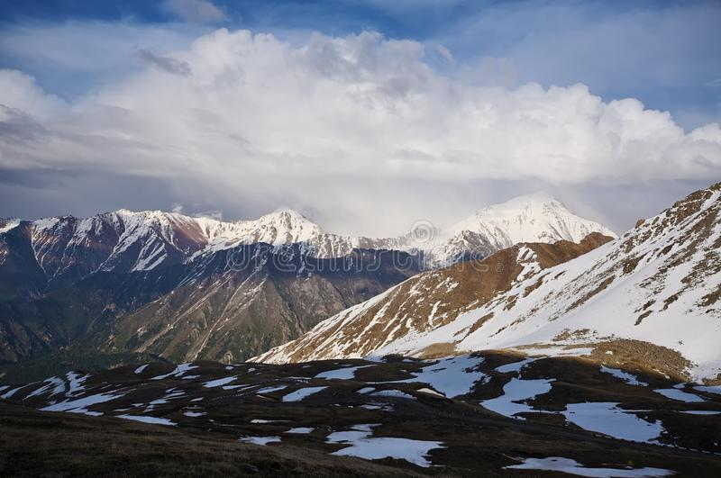 Panorama of Zailiyskiy Alatau mountain ridge, Kazakhstan royalty free stock photo