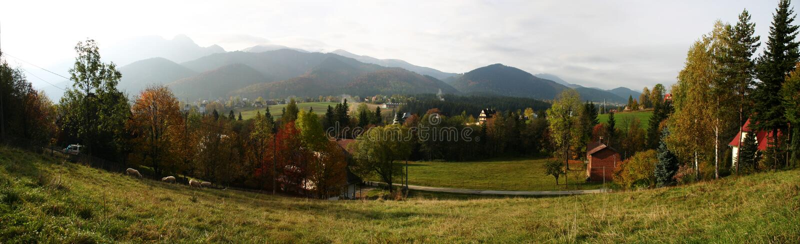 Panorama in Zakopane stock foto's