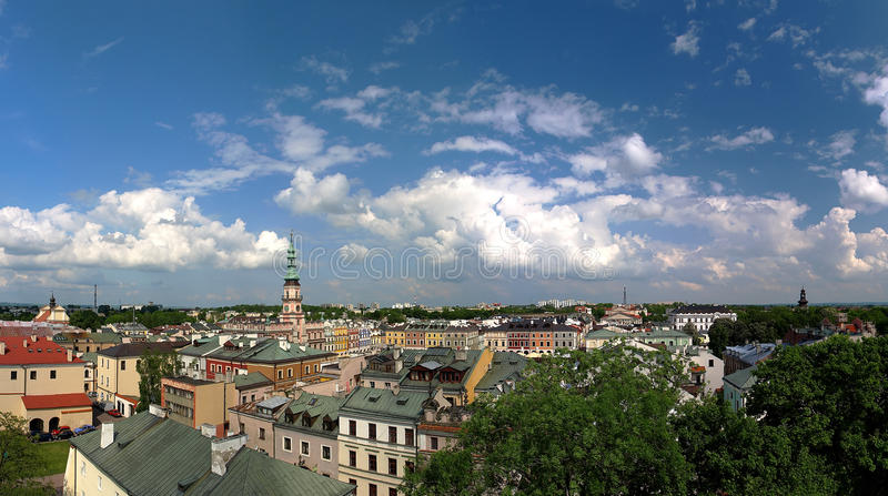 Panorama of Zamosc stock images