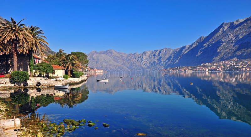 Panorama zatoka Kotor zdjęcia stock