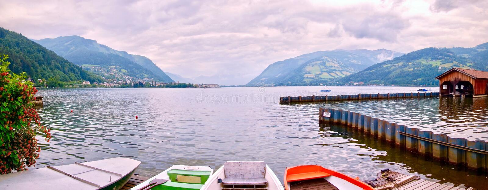 Panorama of Zeller See with canoes in the foreground stock photo