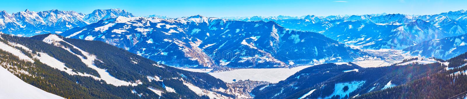 Panorama of Zeller See valley and Alpine range, Zell am See, Austria royalty free stock photography