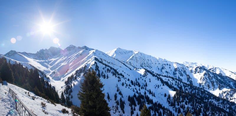 Panorama zim Śnieżne góry dolinne fotografia royalty free