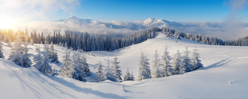 Panorama zim góry obraz stock