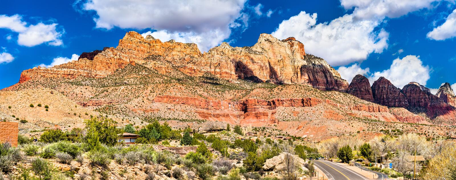 Panorama of Zion National Park at Springdale, Utah. Panorama of Zion National Park at Springdale - Utah, United States royalty free stock images