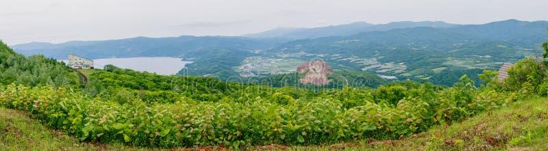Panoramaansicht vom Standpunkt auf Usu-Berg bei Hokkaido, Japan Dieser Platz umfassen Berg Showa Shinzan und Teil von See Toya stockbild