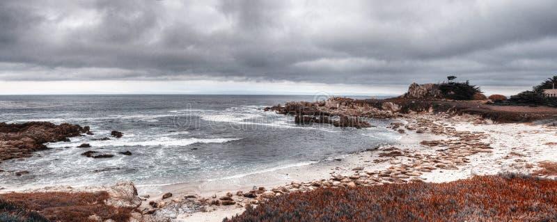 Panoramaansicht von Monterey-Bucht lizenzfreies stockbild