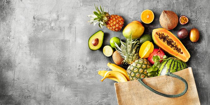 Panoramabaner av sund organisk tropisk frukt royaltyfri bild