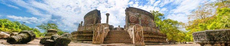 Panoramabild av Vatadage Polonnaruwa Sri Lanka arkivfoton
