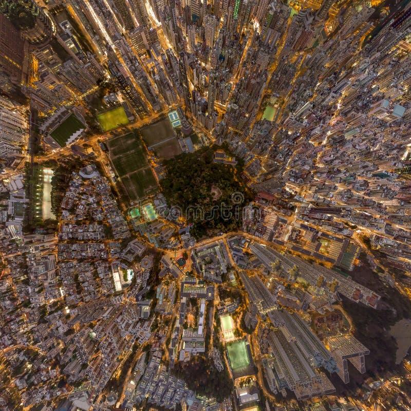 Panoramabilder av den Hong Kong Cityscape sikten från himmel royaltyfria foton
