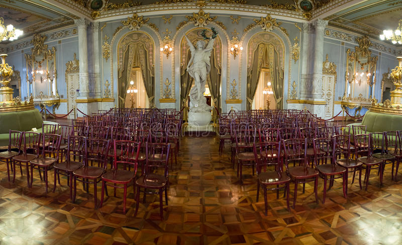 Panoramabinnenland van Nationaal Theater in San José royalty-vrije stock foto's