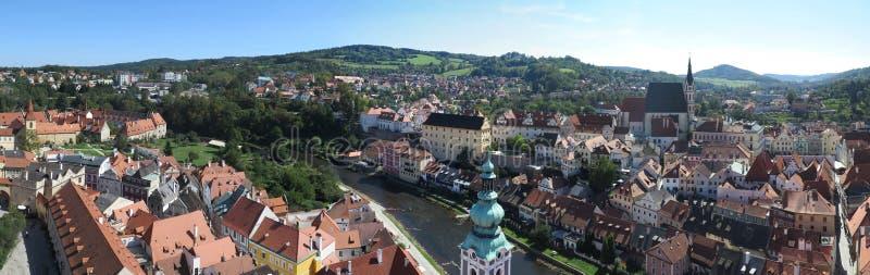 Panoramablick über ÄŒeskÃ-½ Krumlov - Krumau, Tschechische Republik stockfotos