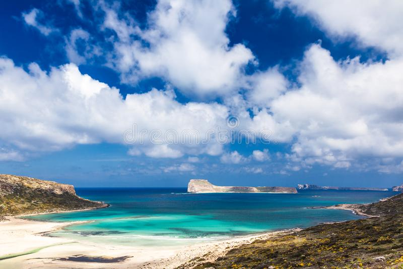 Panoramablick über der Balos-Lagune lizenzfreies stockfoto
