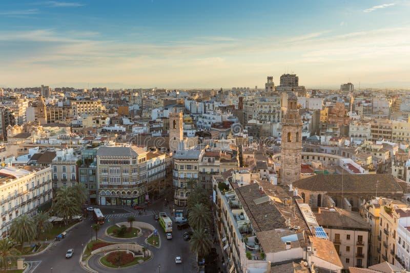 Panoramablick über historischer Mitte von Valencia, Spanien stockfotos