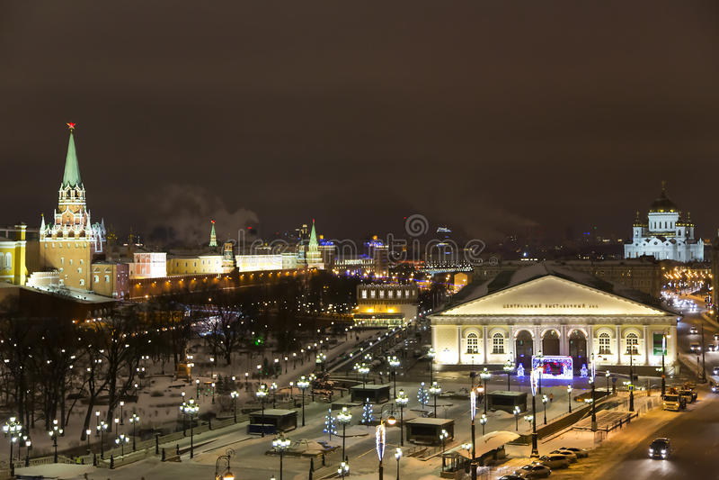 Panoramablick auf Nacht Moskau lizenzfreie stockbilder
