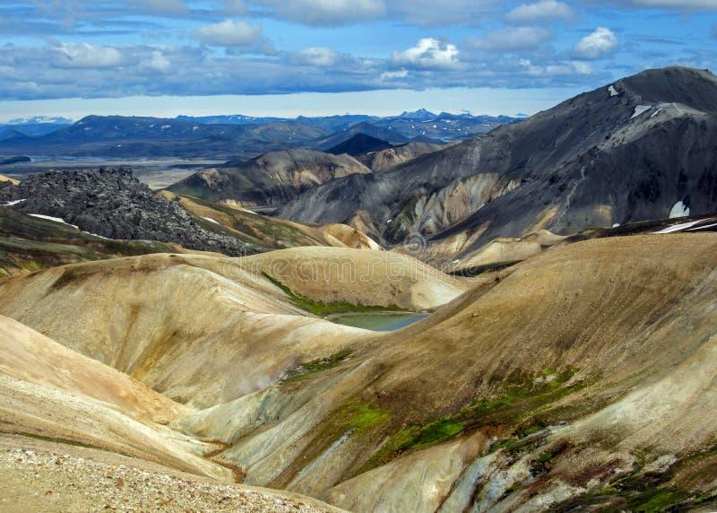 Panoramablick auf szenischem Hochlandbereich geothermischen Bereichs Landmannalaugar, Fjallabak-Naturreservat in Mittel-Island lizenzfreies stockfoto