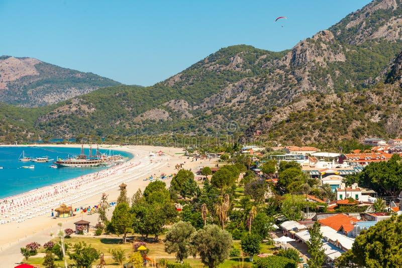 Panoramablick Belcekiz-Strand Oludeniz, blaue Lagune Fethiye lizenzfreie stockfotos