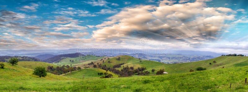 Panoramablick der australischen Landschaft bei Sonnenuntergang, neues Süd-Wa stockfotografie