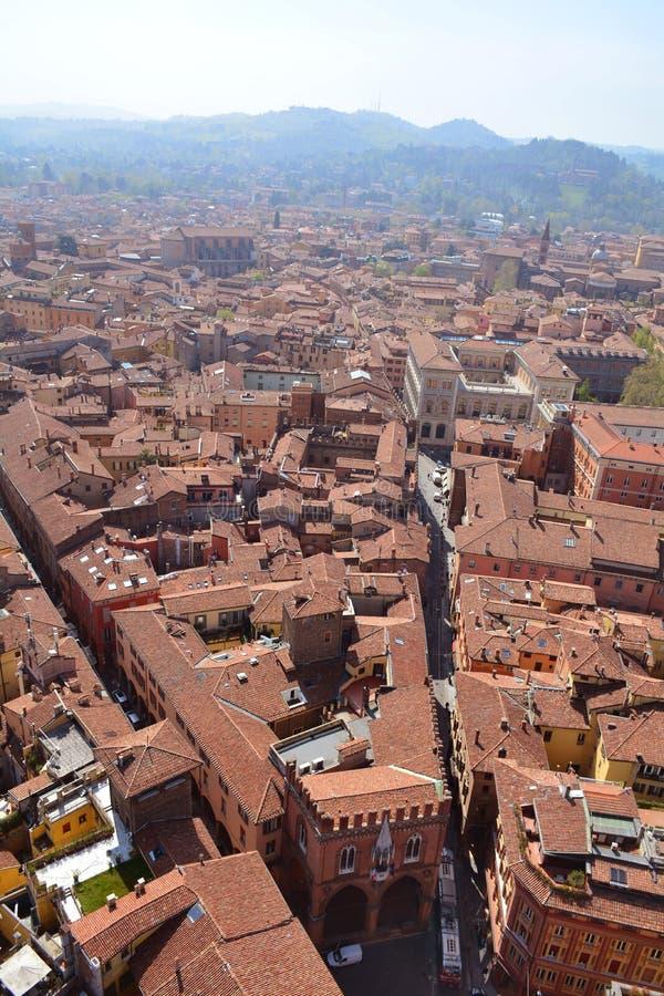 Panoramablick der Bolognastadt vom Turm Asinelli, Emilia-Romagna, Italien stockfoto