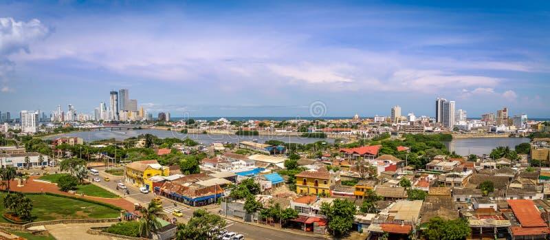 Panoramablick der Stadt von Cartagena, Kolumbien stockbild