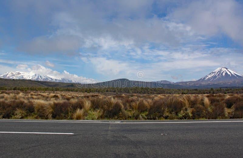 Panoramablick des Bergs Ngauruhoe in Nationalpark Tongariro Es kennzeichnete als Bergschicksal im Lord der Ringfilme lizenzfreie stockbilder