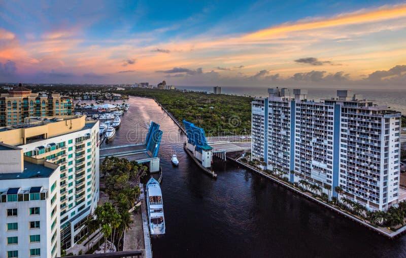 Panoramablick des Fort Lauderdale Florida und der Intracoastal Wasserstraße stockfoto