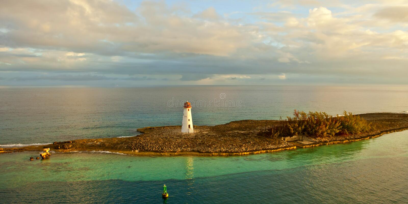 Panoramablick des Leuchtturmes in Bahamas lizenzfreie stockfotografie