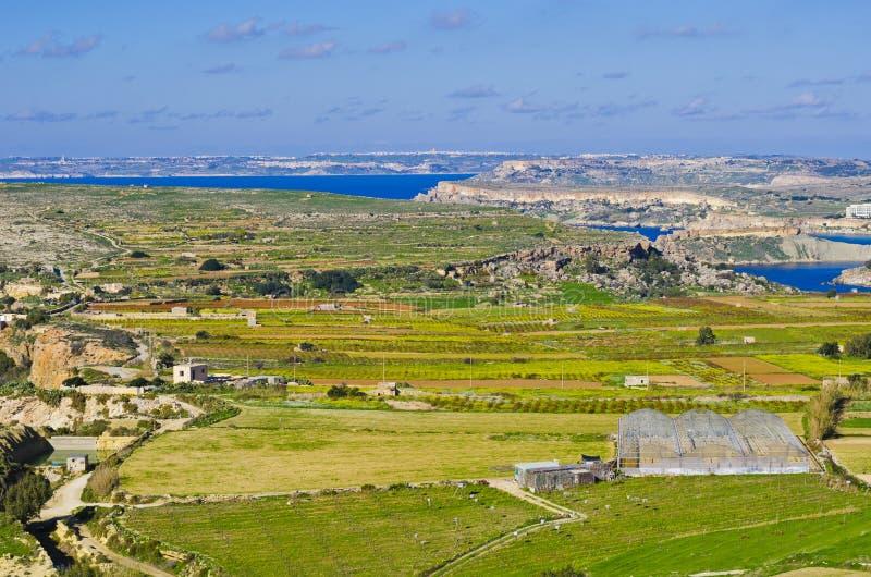 Panoramablick des nördlichen Teils von Malta und von G lizenzfreie stockfotos