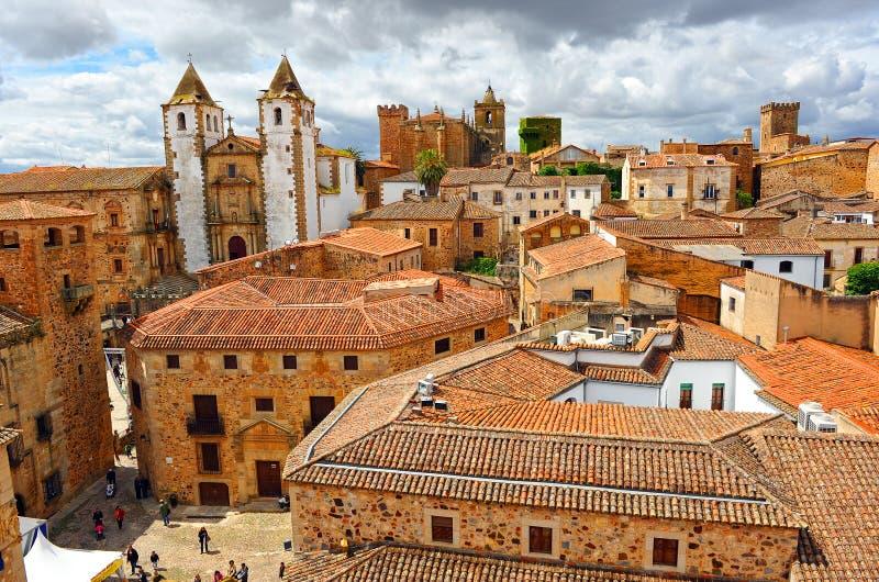 Panoramablick, mittelalterliche Stadt, Caceres, Extremadura, Spanien stockfotografie