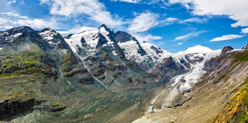 Panoramablick an Pasterze-Gletscher Grossglockner lizenzfreie stockfotografie