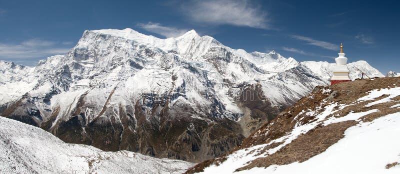 Panoramablick von Annapurna-Strecke lizenzfreie stockfotografie