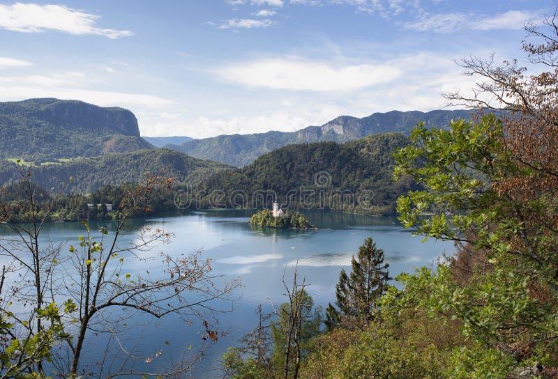 Panoramablick von Bled See mit der Kirche in der Insel an einem sonnigen Tag, vom Schloss lizenzfreie stockbilder