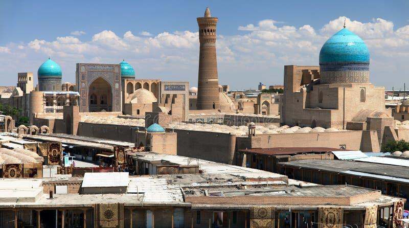 Panoramablick von Bukhara von der Arche lizenzfreie stockfotos