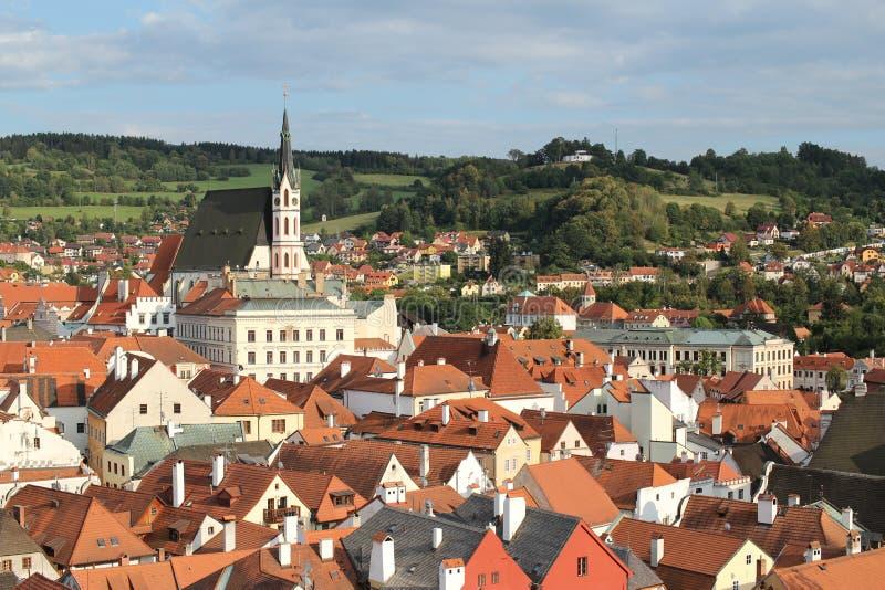 Panoramablick von Cesky Krumlov, Tschechische Republik lizenzfreies stockbild