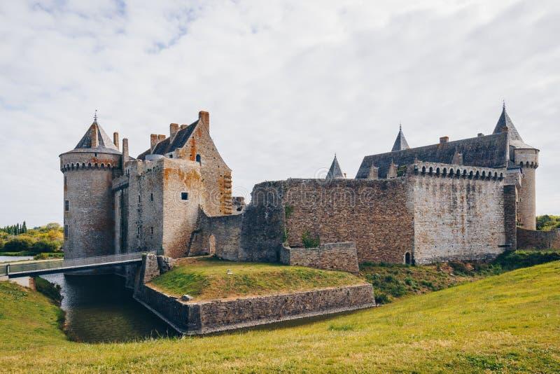 Panoramablick von Chateau de Suscinio im Golf von Morbihan, Britt lizenzfreies stockbild