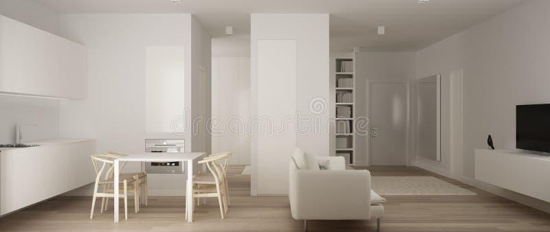 Panoramablick von einer Raumwohnung, unbedeutende weiße kleine Küche mit Parkettboden und Speisetisch und Sofa, Innenarchitektur vektor abbildung