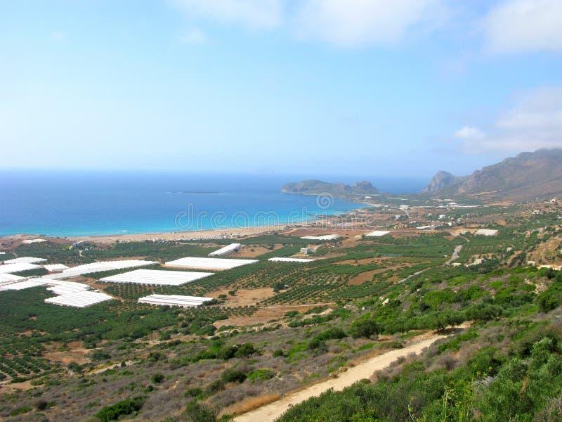 Panoramablick von Falasarna, Kreta, Griechenland stockbilder