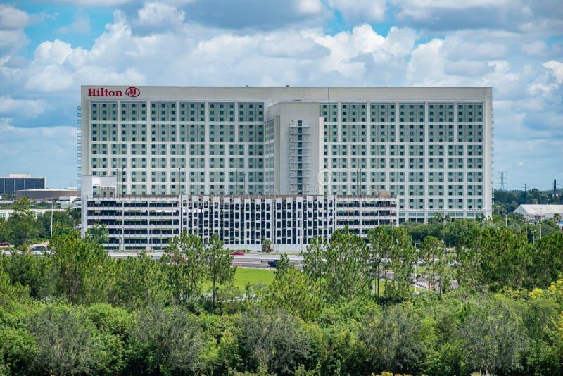 Panoramablick von Hilton Orlando von Aquatica-Turm im internationalen Antriebsbereich lizenzfreies stockfoto