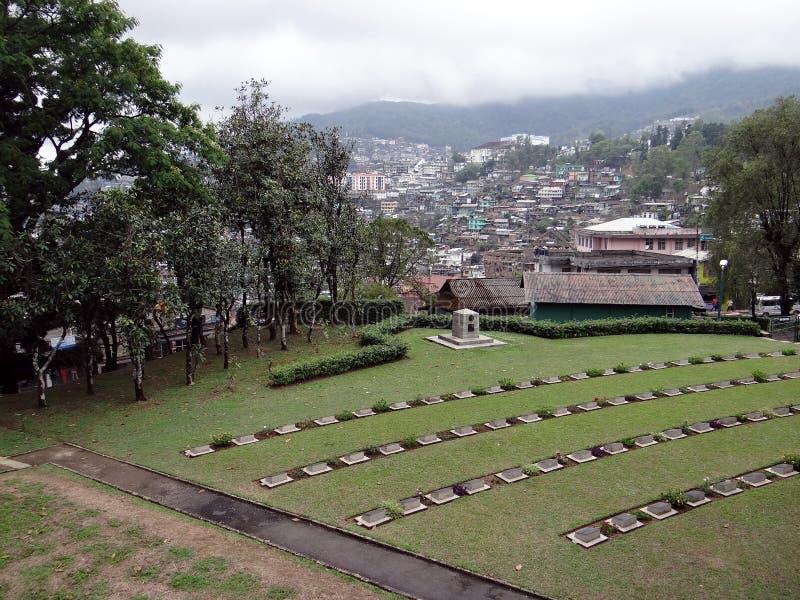 Panoramablick von Kohima-Stadt, Nagaland von der Weltkriegsymmetrie lizenzfreie stockfotos