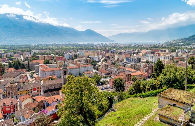 Panoramablick von Locarno-Stadt, die Schweiz lizenzfreies stockbild