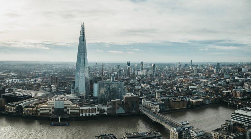 Panoramablick von London und von Scherbe, Großbritannien stockfoto