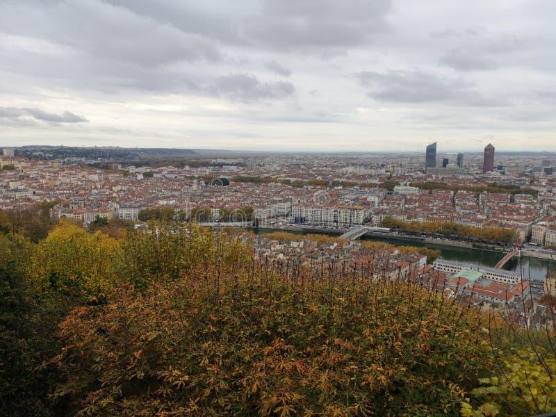 Panoramablick von Lyon, Herbst, Frankreich stockbilder