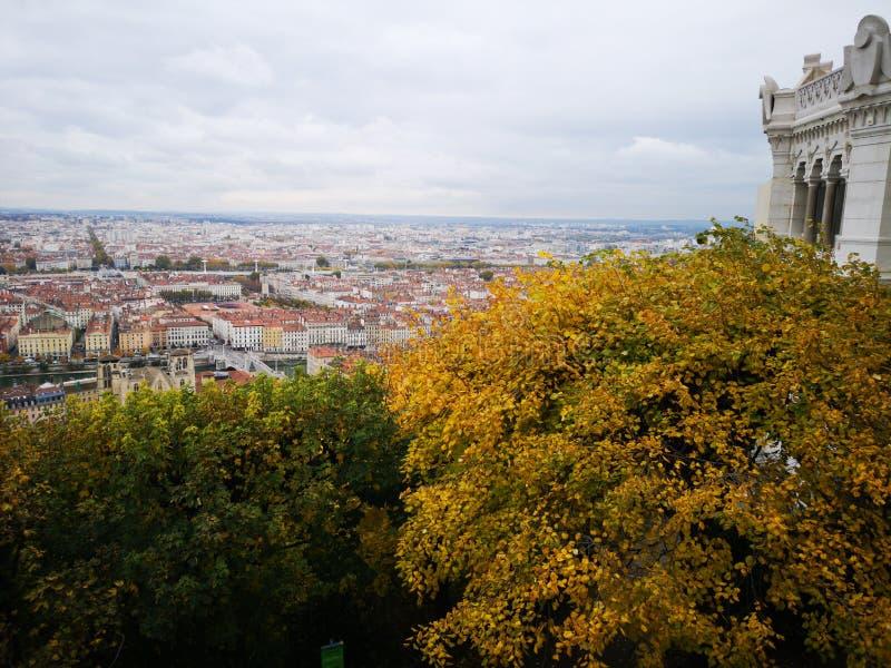 Panoramablick von Lyon, Herbst, Frankreich lizenzfreie stockfotografie