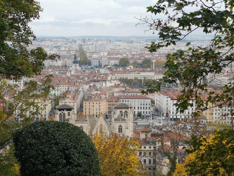 Panoramablick von Lyon, Herbst, Frankreich lizenzfreies stockfoto