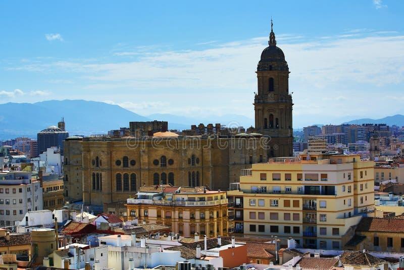 Panoramablick von Màlaga, La Alcazaba, Histiric-Gebäude, Màlaga, Spanien lizenzfreie stockfotografie