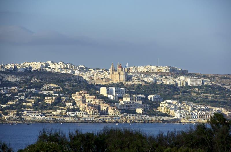 Panoramablick von Melieha, Malta stockfotos