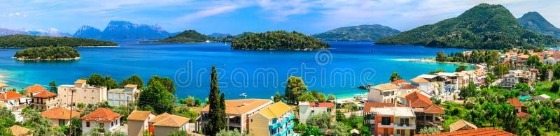 Panoramablick von Nidri-Bucht, schöne Lefkas-Insel Griechenland stockfoto