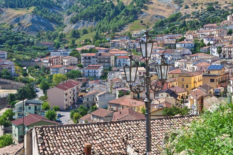 Panoramablick von Oriolo Kalabrien Italien lizenzfreie stockfotografie