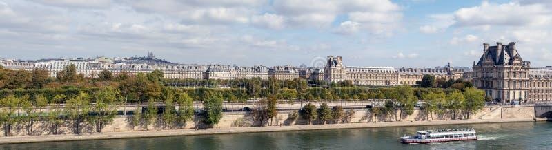 Panoramablick von Paris von ` Musee d Orsay-Dachspitze lizenzfreies stockbild