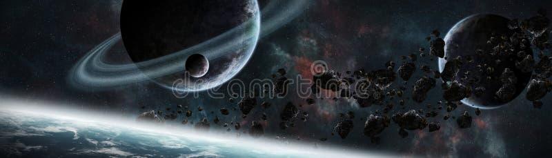 Panoramablick von Planeten im entfernten Sonnensystem 3D, das e überträgt stock abbildung